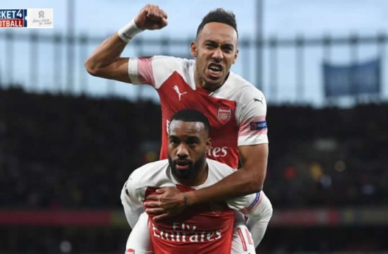 Alexandre Lacazette and Pierre-Emerick Aubameyang having a goal moment. Purchase Arsenal Tickets to enjoy its stunning performances.